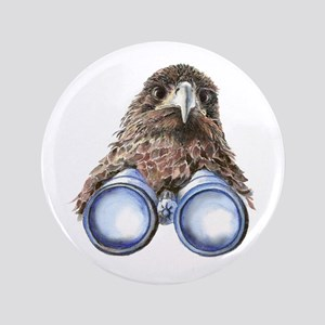 "Fun Hawk Bird with Binoculars 3.5"" Button"